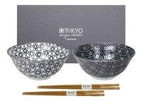 Tokyo Design Studio 2 rijstkommetjes Nippon Black Stripe & Flower Diameter 15 cm