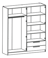 Demeyere Meubles Garde-robe 4 portes et 2 tiroirs Glory décor chêne shannon-product 3d drawing