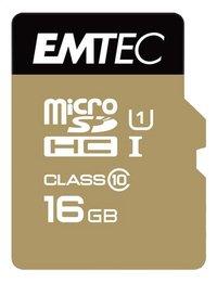 Emtec geheugenkaart microSDHC class10 16 GB goud-Vooraanzicht