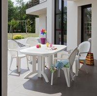 Grosfillex table de jardin à rallonge Vega blanc L 160 x Lg 100 cm-Image 1