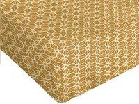 Origin Hoeslaken voor bed Santorin wit/oker bamboe/katoen