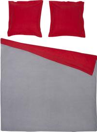 Home lineN dekbedovertrek Bicolore flanel lichtgrijs/rood 200 x 200 cm-Vooraanzicht