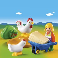 Playmobil 1.2.3 6965 Agricultrice avec brouette et coq-Image 1