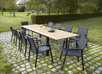 Table de jardin à rallonge York teck/noir 220 x 100 cm-Image 4