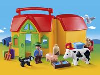 Playmobil 1.2.3 6962 Ferme transportable avec animaux-Image 1