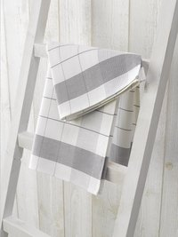 De Witte Lietaer 2 essuies de cuisine Luxury collection Mixte gris/blanc 65 x 65 cm-commercieel beeld