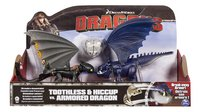 Set Dragons Toothless & Hiccup vs. Armored Dragon bleu