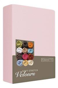 Romanette Drap-housse velours blush 90 x 200 cm-Côté gauche