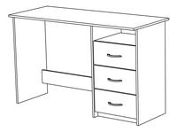 Bureau Aristote B 123 cm eikdecor/wit-product 3d drawing