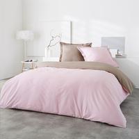 Home lineN Housse de couette Bicolore coton taupe/rose 140 x 200 cm