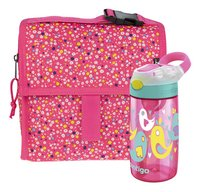 PackIt sac à lunch Freezable Mini Poppies + Contigo gourde Gizmo Flip rose 420 ml