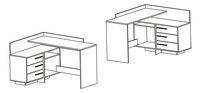 Bureau d'angle Thales à 3 tiroirs blanc/décor chêne-product 3d drawing