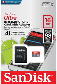 SanDisk carte mémoire microSDHC Ultra Classe 10 16 Go-Avant