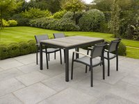 Table de jardin à rallonge Marbella grey wash/anthracite L 150 x Lg 90 cm