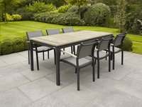 Table de jardin Marbella grey wash/anthracite L 200 x Lg 100 cm