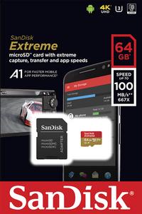 SanDisk geheugenkaart microSDXC Extreme 64GB Class 10 A1 V30 U3-Vooraanzicht