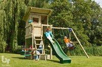 Blue Rabbit 2.0 schommel met speeltoren en glijbaan Beach Hut groen