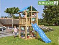 Jungle Gym houten speeltoren De Hut met blauwe glijbaan