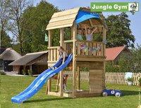 Jungle Gym Houten speeltoren Barn met blauwe glijbaan