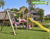 Jungle Gym portique en bois Cubby avec toboggan jaune