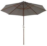 Parasol de luxe en bois FSC avec manivelle diamètre 3 m gris-Avant