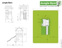 Jungle Gym houten schommel Barn met blauwe glijbaan-Artikeldetail