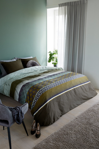 Beddinghouse Dekbedovertrek Densley green katoensatijn-Afbeelding 1