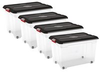 Kis Opbergbox Moover Box transparant/black 82 l - 4 stuks