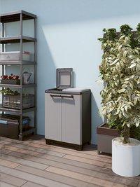 Keter Kis Kunststof berging Split Recycling light grey/black-Afbeelding 1