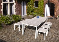 Table de jardin Salerno grey wash/blanc L 220 x Lg 90 cm-Image 1