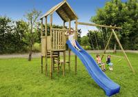 BnB Wood schommel Perk met blauwe glijbaan-Afbeelding 1