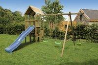 BnB Wood schommel Perk met blauwe glijbaan-commercieel beeld