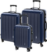 Check.In Harde trolleyset London Special Spinner carbon blue-Vooraanzicht