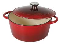 Sitram cocotte ronde Sitraslow rouge 24 cm - 4 l