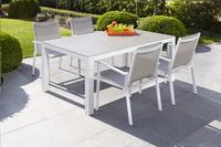 Table de jardin Maurs gris/blanc L 158 x Lg 99.5 cm-Image 3