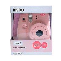 Fujifilm appareil photo instax mini 8 rose + pack de 10 photos et étui