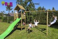 BnB Wood schommel met speeltoren en kweektafel Nieuwpoort met appelgroene glijbaan