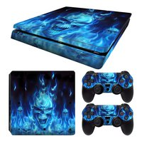PS4 Slim skins Blue Skull pour console + 2 skins pour manettes