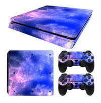 PS4 Slim console skins + 2 controllers skins Galaxy