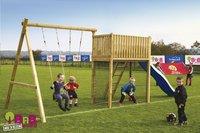 BnB Wood portique avec tour de jeu Goal et toboggan bleu-Image 2