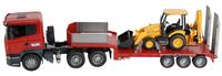 Bruder vrachtwagen Scania met JCB baggerlader-Vooraanzicht