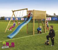 BnB Wood schommel met speeltoren Goal met blauwe glijbaan