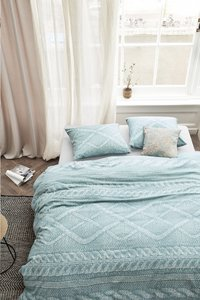 Ariadne at Home Housse de couette Wools sea green flanelle