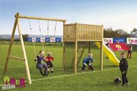 BnB Wood schommel met speeltoren Goal met gele glijbaan-Afbeelding 2