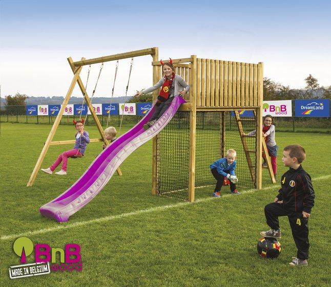 Image pour BnB Wood portique avec tour de jeu Goal et toboggan mauve à partir de ColliShop