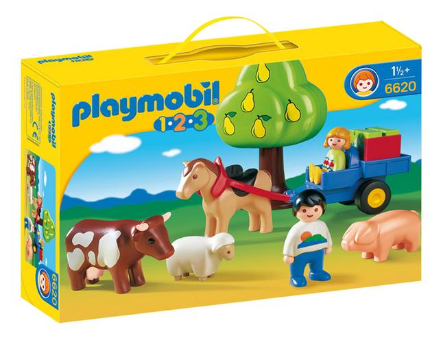 PLAYMOBIL 1.2.3 6620 Enfants avec charrette et animaux