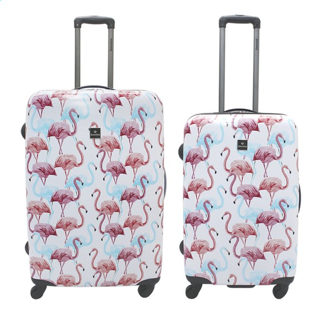 Afbeelding van Saxoline Harde trolleyset Flamingo Spinner from ColliShop