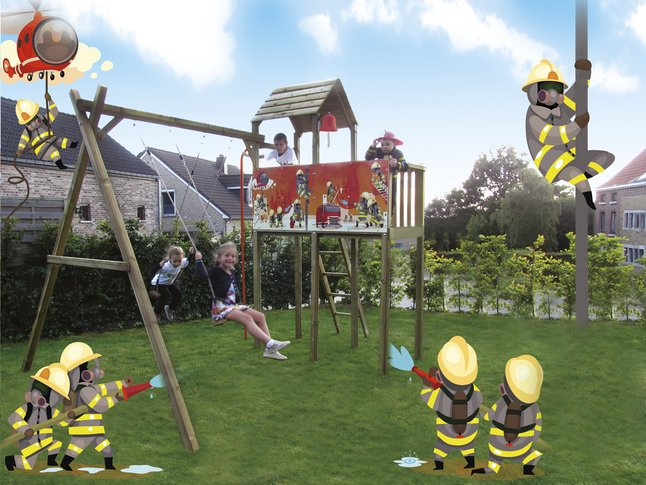 Afbeelding van BnB Wood schommel met speeltoren Fireman from ColliShop