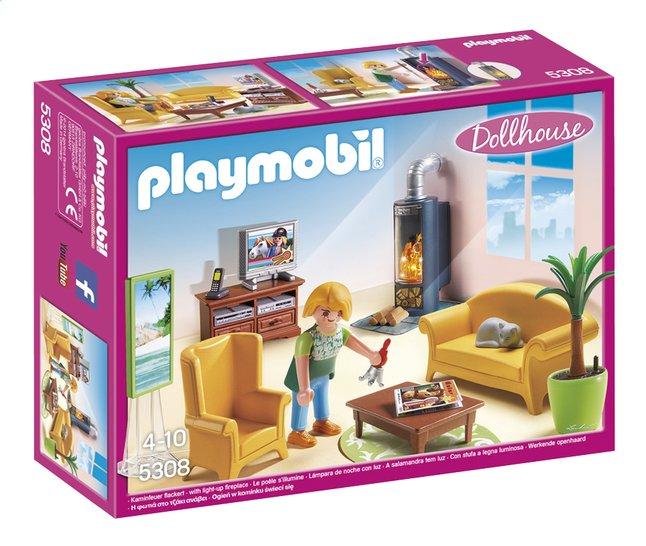 Afbeelding van Playmobil Dollhouse 5308 Woonkamer met houtkachel from ColliShop