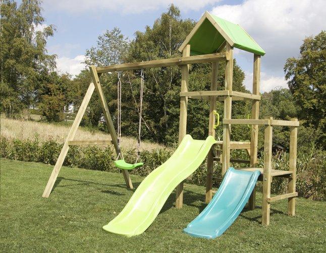 Image pour BnB Wood portique Little Eden Duo avec toboggans Lime et turquoise à partir de ColliShop